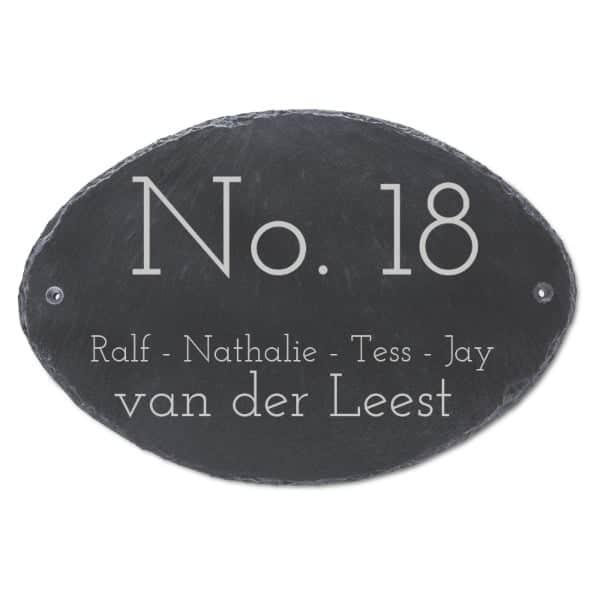 Naambord Leisteen 30 x 20 cm + Gaten V01