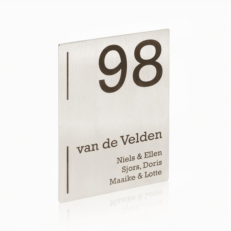 Naambord RVS 15 x 20 cm V01
