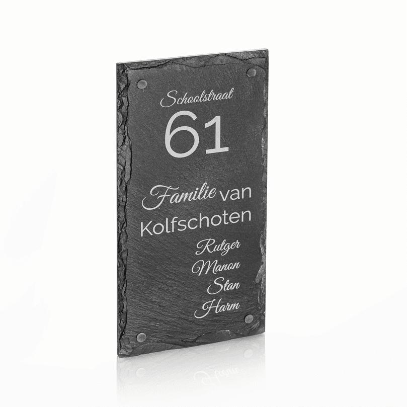Naambord Leisteen 15 x 30 cm + Gaten V01