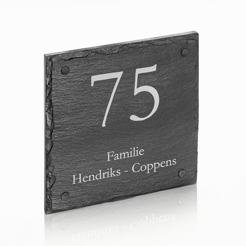 Naambord Leisteen 20 x 20 cm + Gaten V01