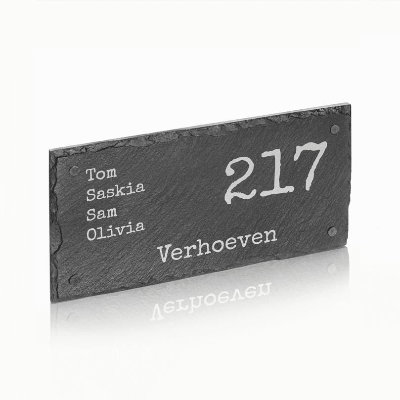 Naambord Leisteen 30 x 15 cm + Gaten V01