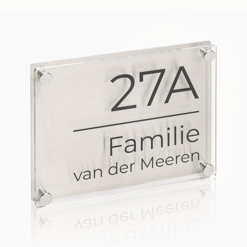 Naambord RVS – Plexiglas 20 x 15 cm