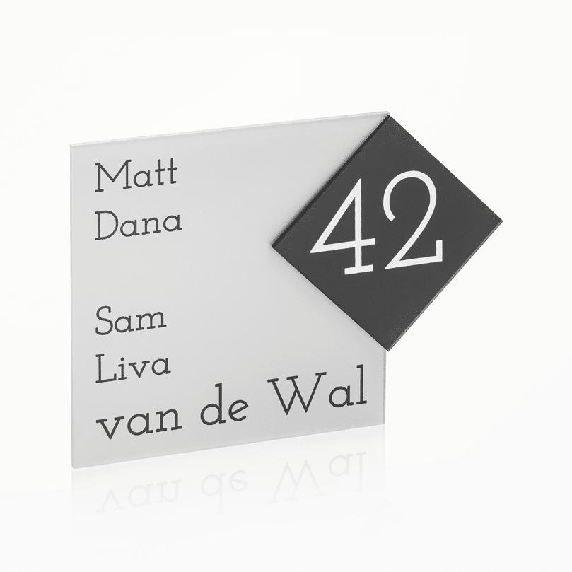 Naambord Plexiglas 15 x 15 cm / 8 x 8 cm