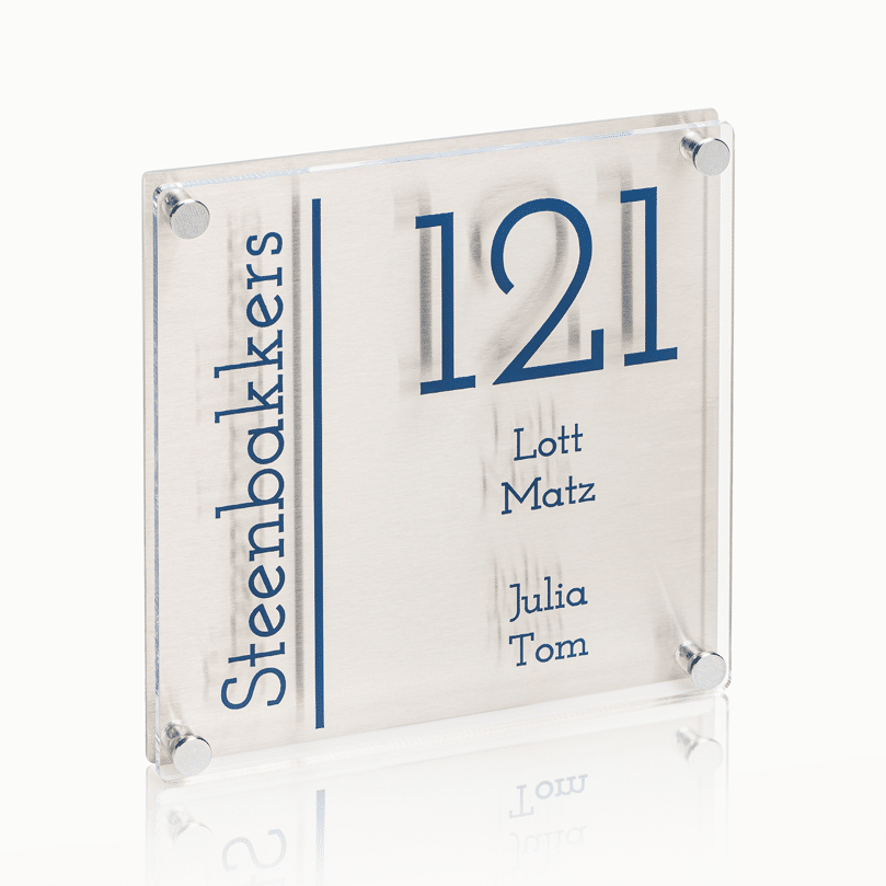 >Naambord RVS – Plexiglas 20 x 20