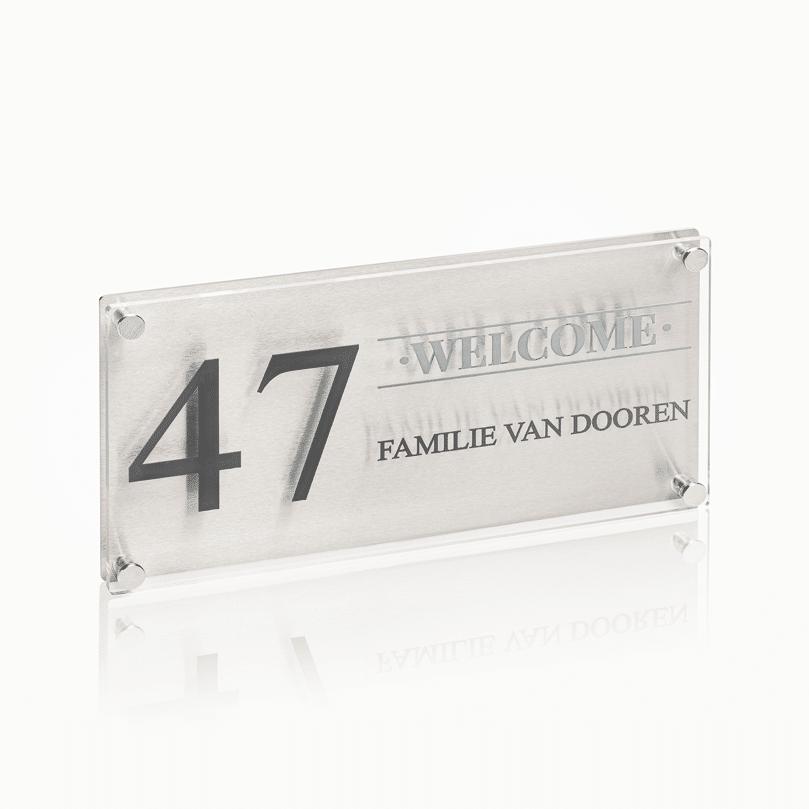 Naambord RVS – Plexiglas 30 x 15