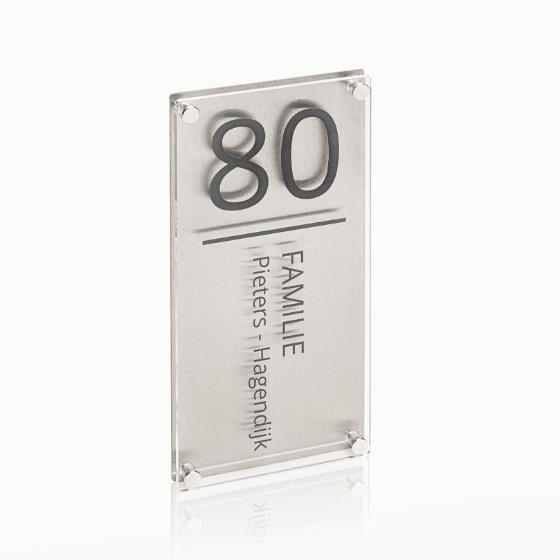 Naambord RVS – Plexiglas 15 x 30