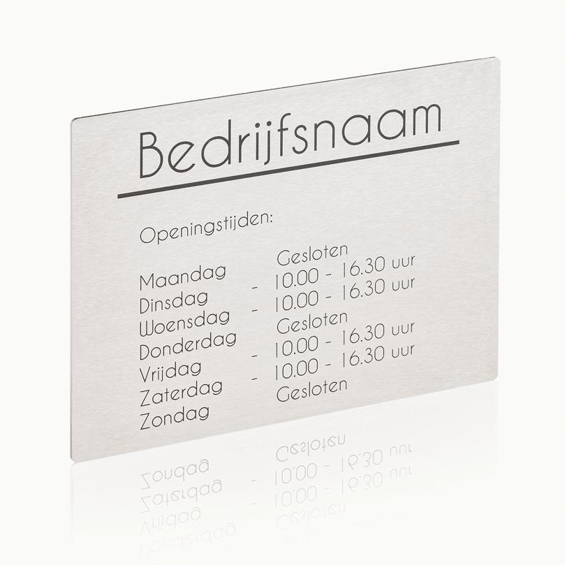 Naambord RVS 20 x 15 cm bedrijfsnaambord