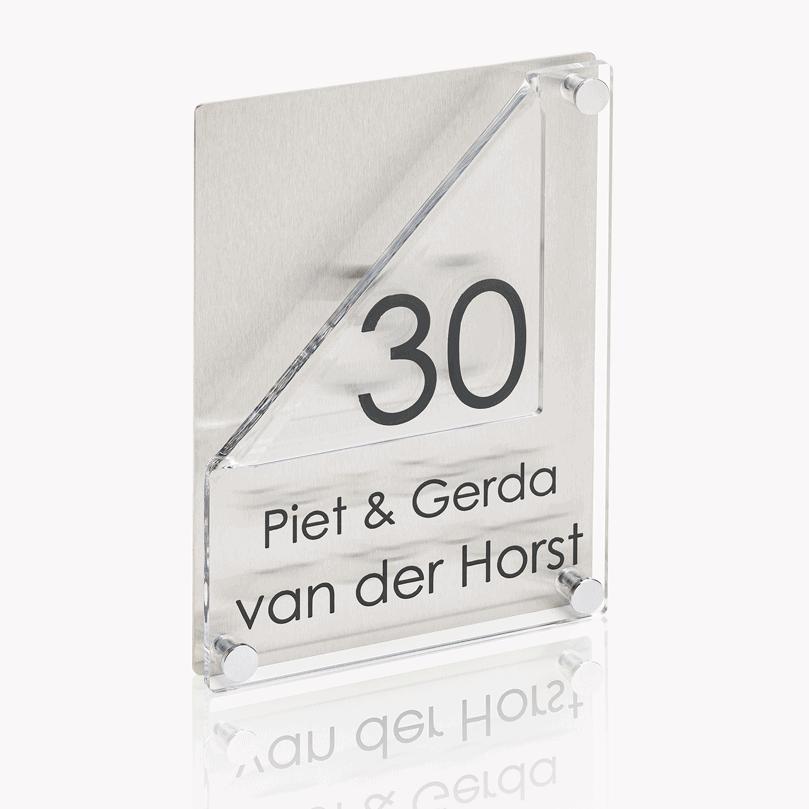 Naambord RVS – Plexiglas 15 x 20 met hoek