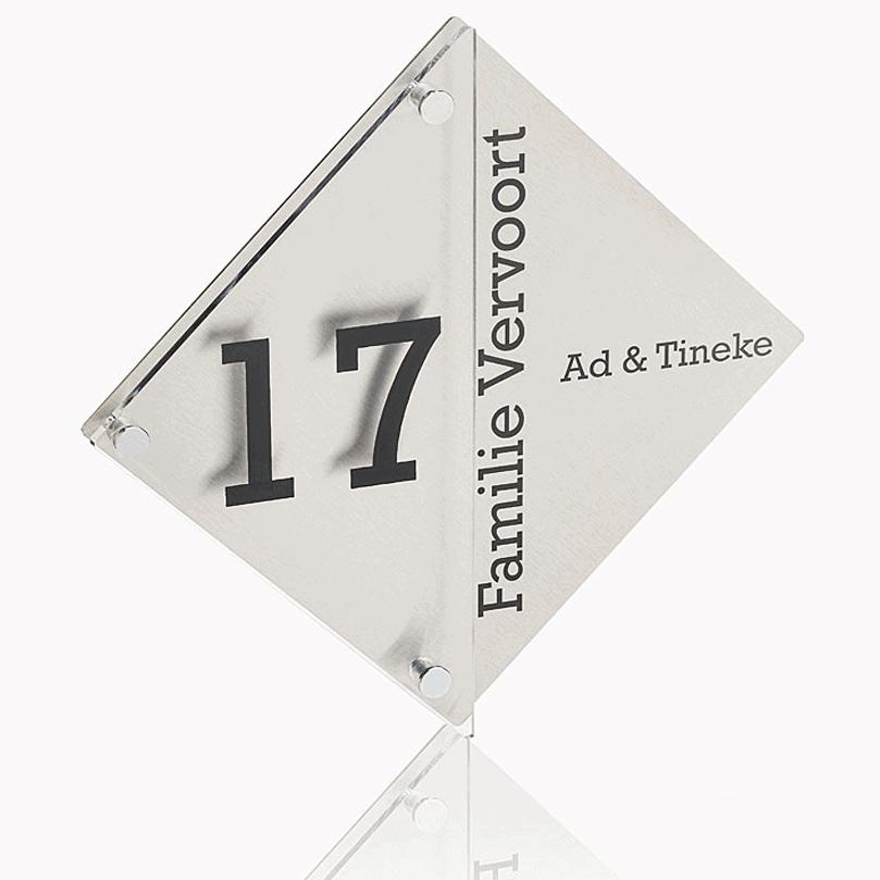 Naambord RVS – Plexiglas 28 x 28 cm